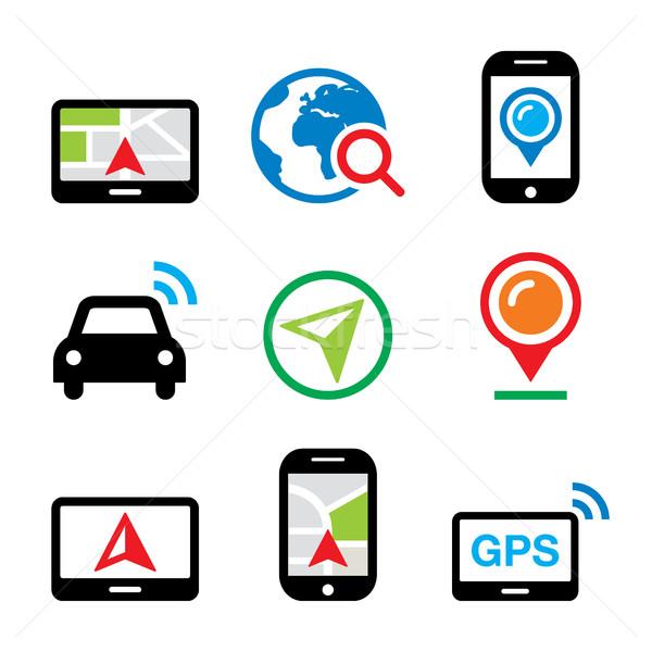 GPS, car navigation, travel vector icons set     Stock photo © RedKoala