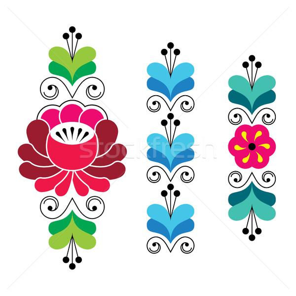 Russian folk art pattern - floral long stripes Stock photo © RedKoala