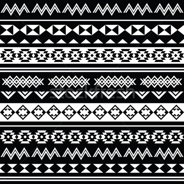 Aztec tribal seamless black and white pattern vector illustration