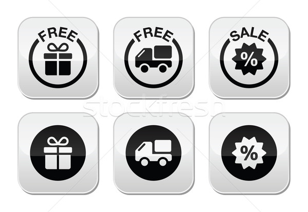 Free gift, free delivery, sale buttons set Stock photo © RedKoala
