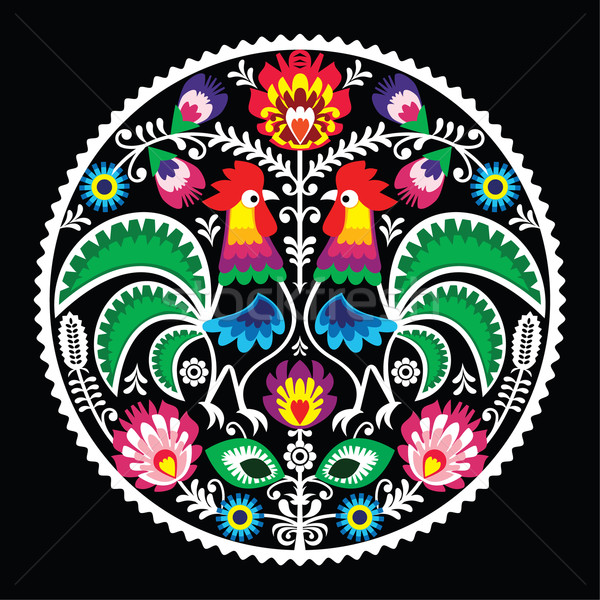 Stock photo: Polish floral embroidery with roosters - traditional folk pattern