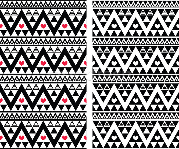 Tribal aztec colorful seamless pattern with heart - two versions Stock photo © RedKoala