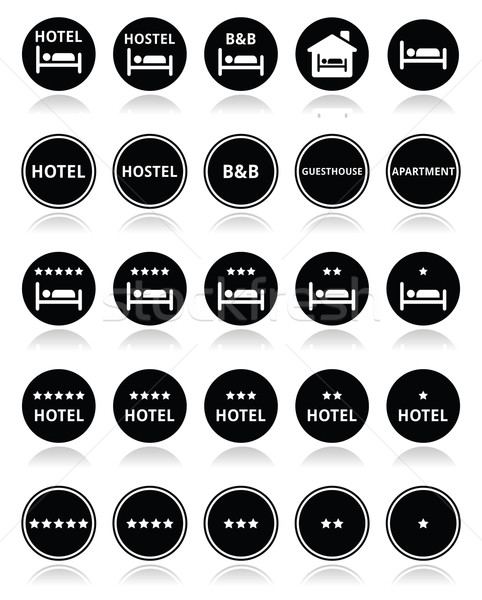 Hotel, hostel, B&B with stars round icons set  Stock photo © RedKoala