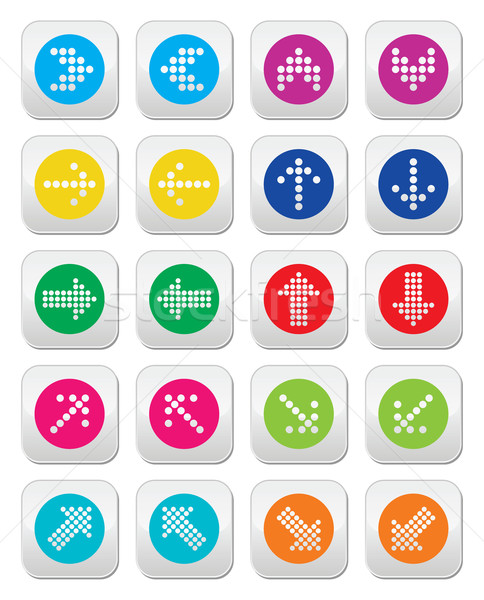 Dotted colorful arrows round icons set isolated on white Stock photo © RedKoala