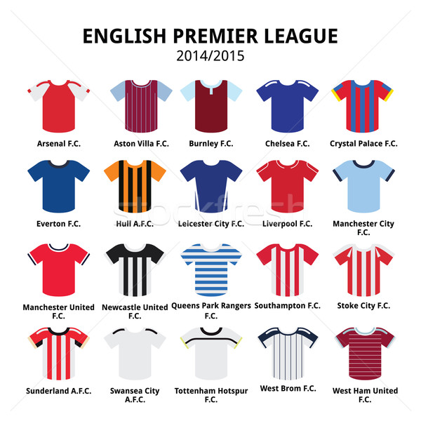 English Premier League 2014 - 2015 football or soccer jerseys icons set Stock photo © RedKoala