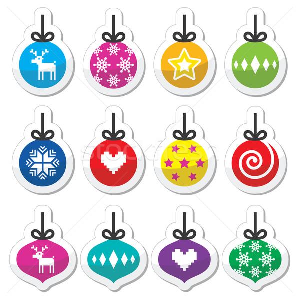 Stockfoto: Christmas · bal · snuisterij · kleurrijk · ingesteld
