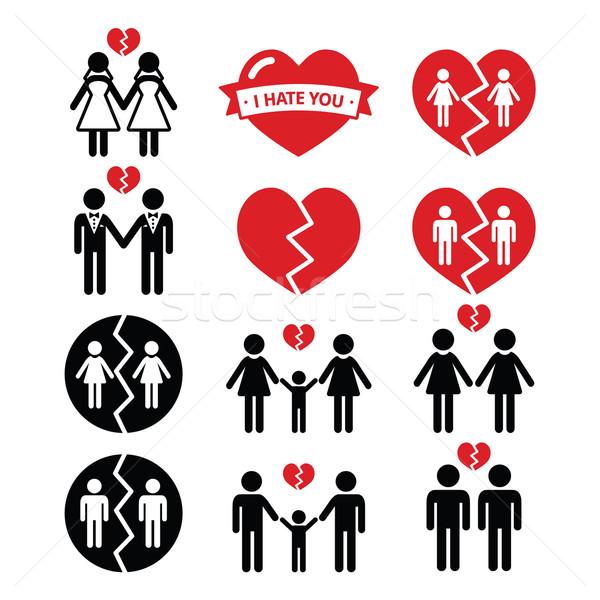 Gay or lesbian Couple breakup, divorce vector icons set  Stock photo © RedKoala