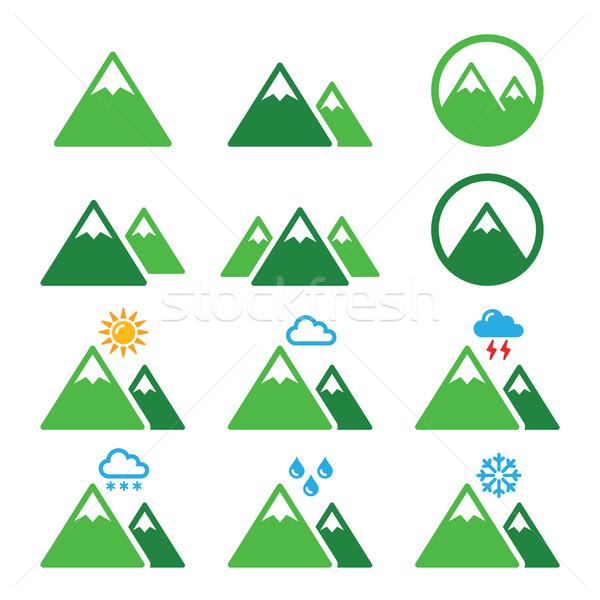 Foto stock: Montanha · verde · vetor · paisagem · isolado