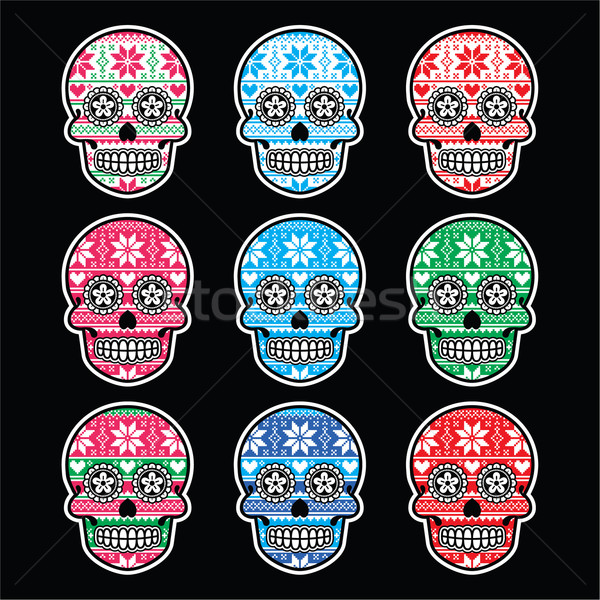 Mexican sugar skull with winter Nordic pattern on black Stock photo © RedKoala