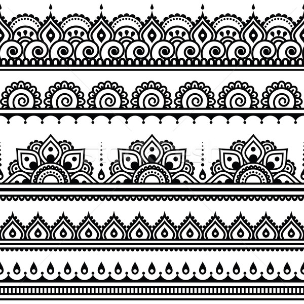 Mehndi, Indian Henna tattoo seamless pattern, design elements   Stock photo © RedKoala