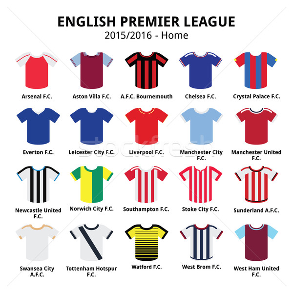 English Premier League 2015 - 2016 football or soccer jerseys icons set    Stock photo © RedKoala