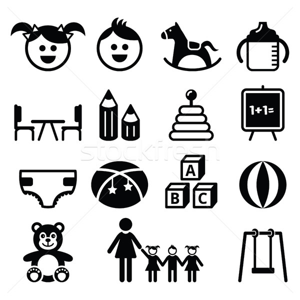 Kindergarten, nursery, preschool icons set  Stock photo © RedKoala