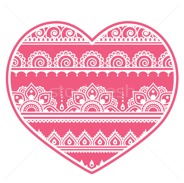 Valentine's Day design - Mehndi heart, Indian Henna tattoo pattern Stock photo © RedKoala
