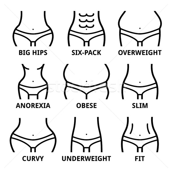 Female body shape - fit, big hips, obese, overweight, slim, anorexia, six-pack, obese, fat, curvy  Stock photo © RedKoala