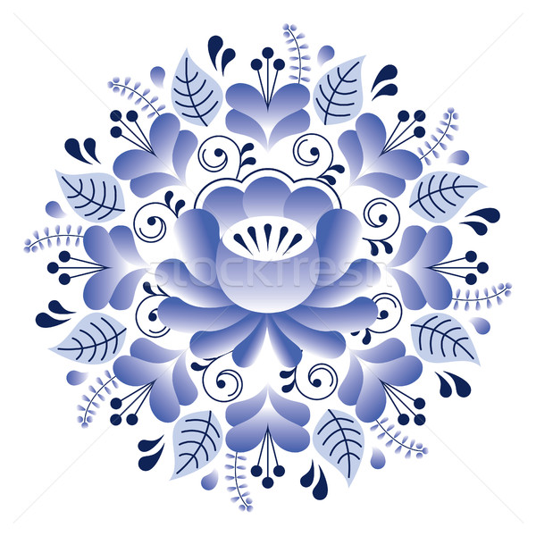 Folk art floral pattern, Russian design inspired by Gzhel ceramics style Stock photo © RedKoala