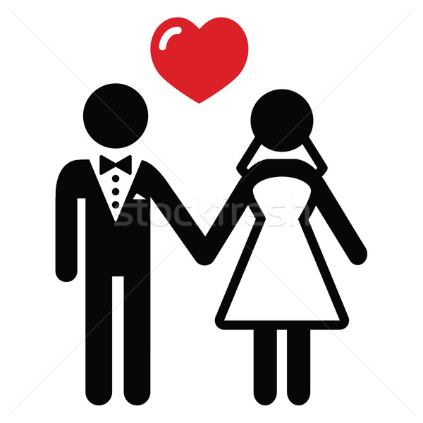 Stock photo: Wedding married couple icon