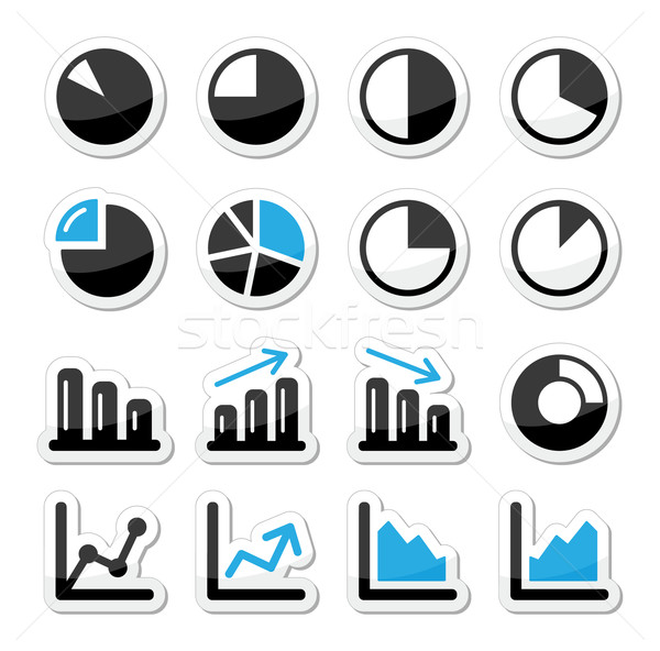 Chart graph black and blue icons as labels Stock photo © RedKoala
