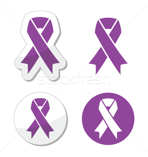 Purple ribbon - pancreatic cancer, testicular cancer, domestic violence awereness symbol Stock photo © RedKoala
