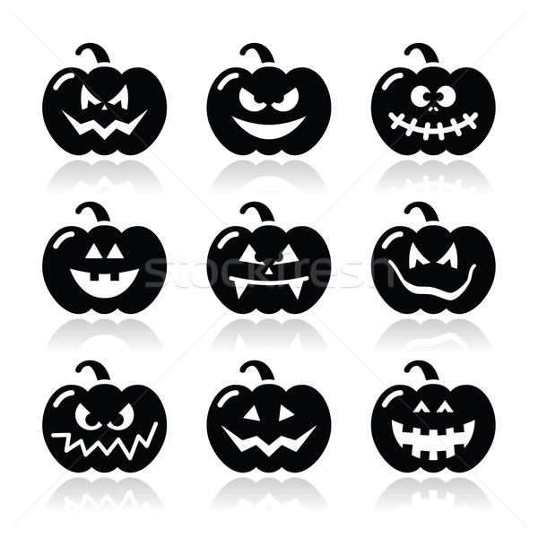 Halloween pumkin vector icons set Stock photo © RedKoala