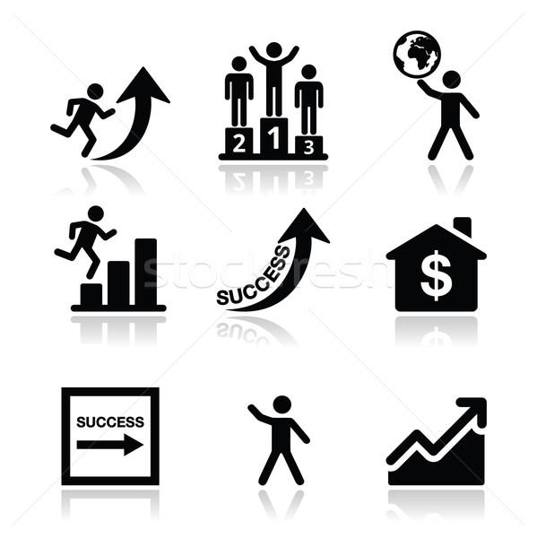 Success in business, self development icons set Stock photo © RedKoala