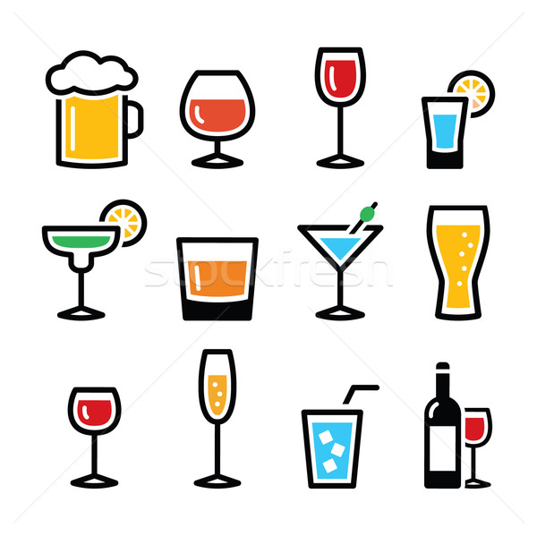 Drink colorful alcohol beverage icons set Stock photo © RedKoala