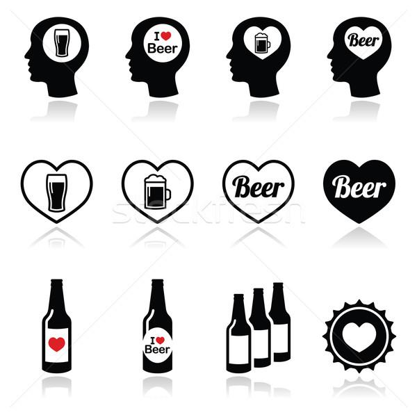 Man loving beer vector icons set Stock photo © RedKoala