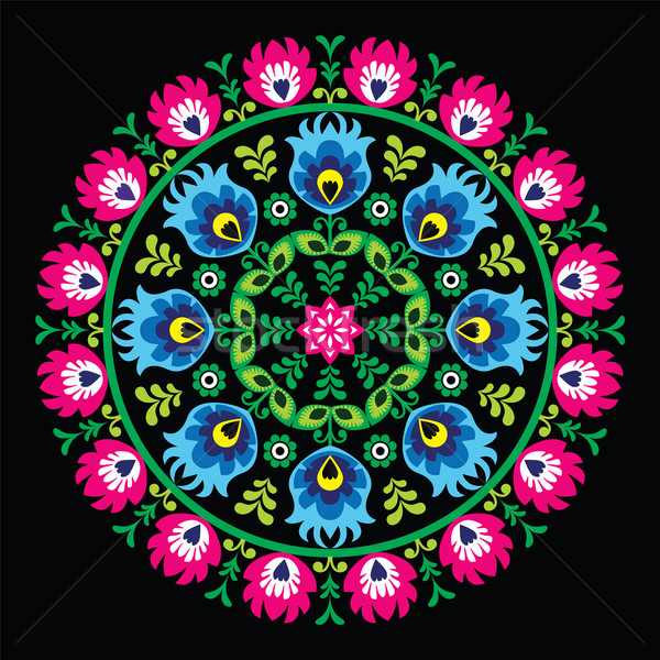 Stock photo: Polish traditional circle folk art pattern on black - Wzory Lowickie, Wycinanka