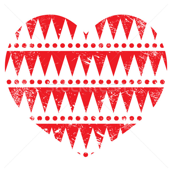 Valentine's Day card - Aztec tribal pattern red heart Stock photo © RedKoala