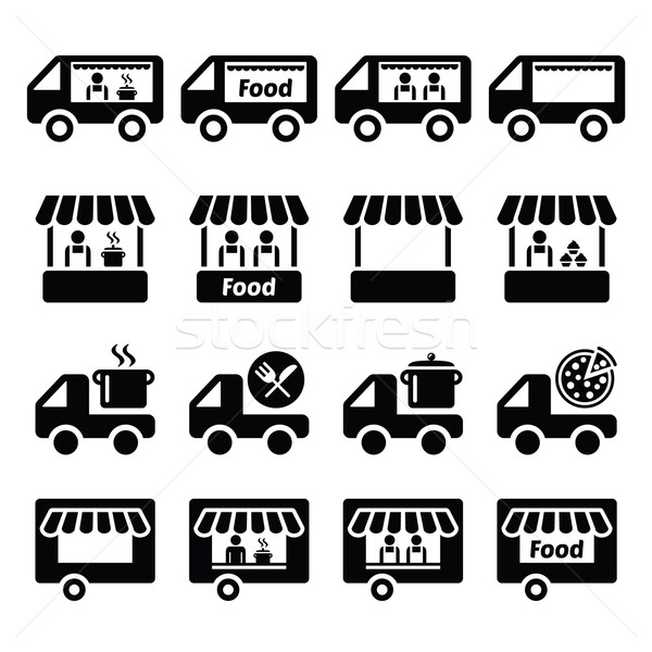 Food truck, food stand and food trailer icons set  Stock photo © RedKoala