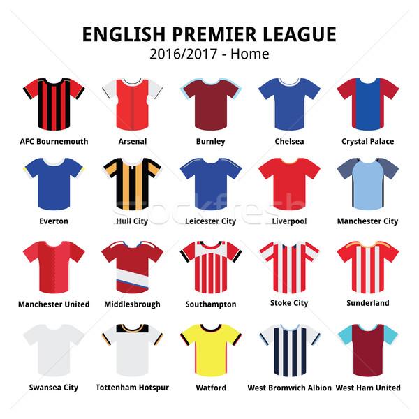 Stock photo:   English Premier League 2016 - 2017 football or soccer jerseys icons set