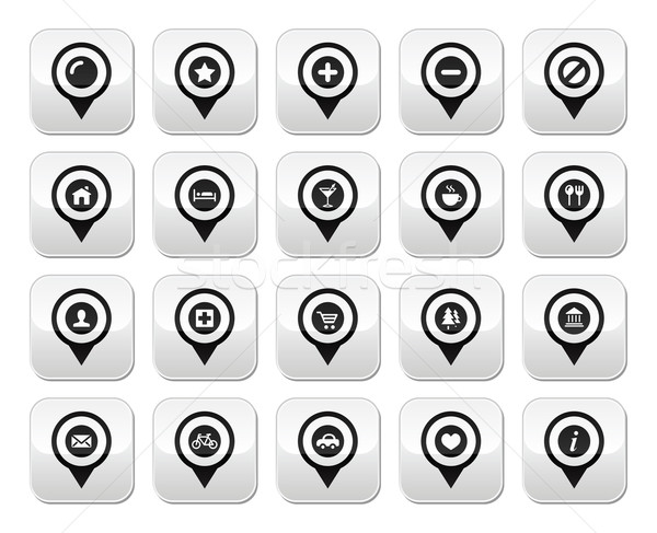 Kaart plaats vector knoppen ingesteld Stockfoto © RedKoala