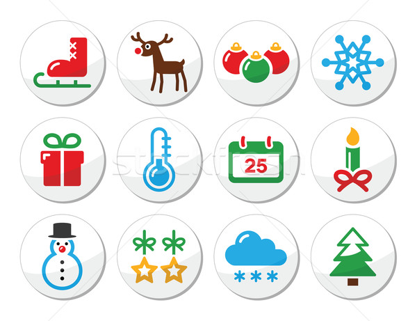 Christmas winter colorful icons set as round labels Stock photo © RedKoala
