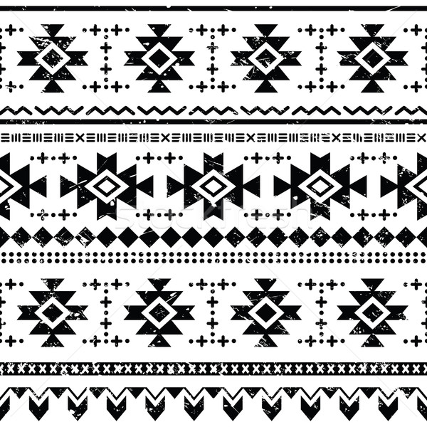 Tribal aztec vector retro seamless pattern on white Stock photo © RedKoala