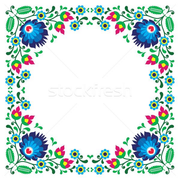 Polish floral folk embroidery frame pattern - wzory lowickie Stock photo © RedKoala