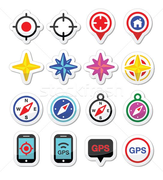 GPS navigation, wind rose, compass icons set Stock photo © RedKoala