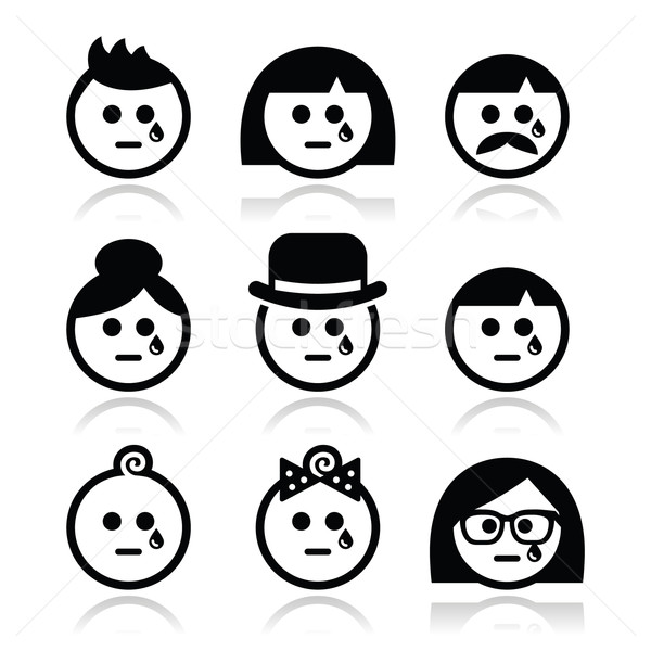 Crying people faces - man, woman, baby icons set  Stock photo © RedKoala