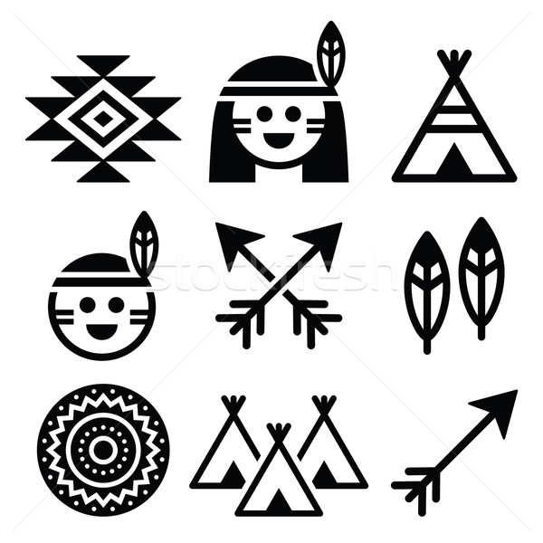 Indian American, indigenous people and culture icons set  Stock photo © RedKoala