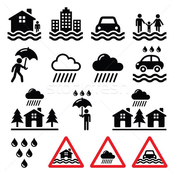 Flood, natural disaster, heavy rain icons set  Stock photo © RedKoala