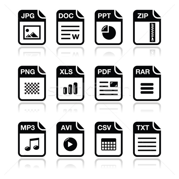 File type black icons with shadow set - zip, pdf, jpg, doc Stock photo © RedKoala