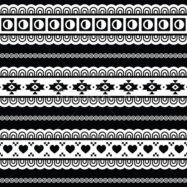 Seamless tribal pattern, aztec black and white background Stock photo © RedKoala