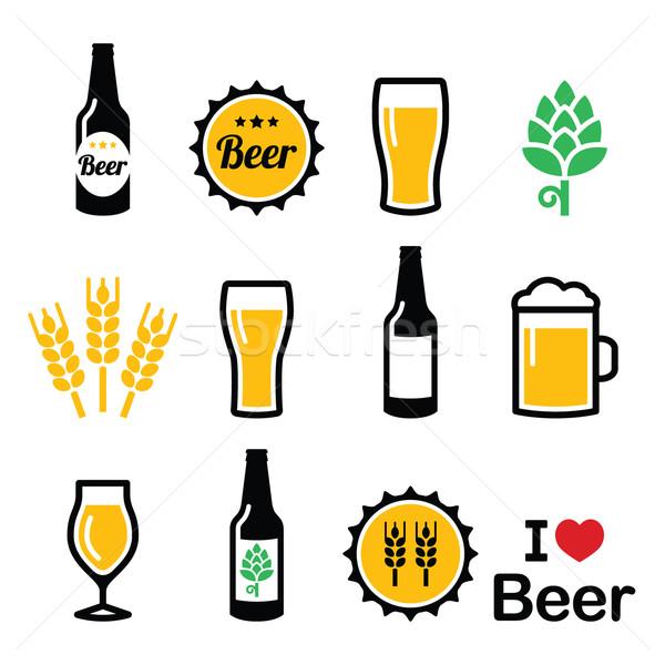 Stockfoto: Bier · kleurrijk · vector · fles · glas