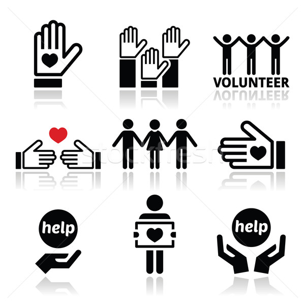 Volunteer, people helping or giving concept icons set Stock photo © RedKoala