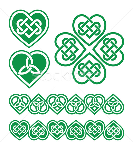 İrlandalı Kelt yeşil kalp vektör model Stok fotoğraf © RedKoala