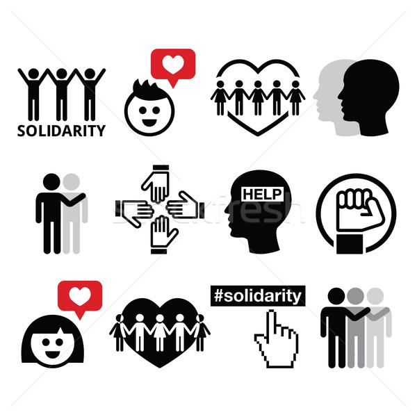 Emberi szolidaritás ikonok emberek segít egyéb Stock fotó © RedKoala
