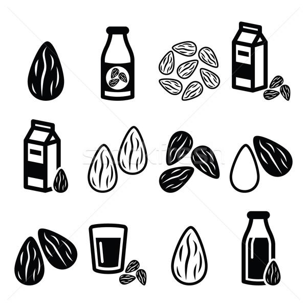 Amandelen amandel melk vector voedsel Stockfoto © RedKoala