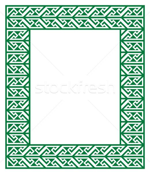 Celtic sleutel patroon groene frame grens Stockfoto © RedKoala