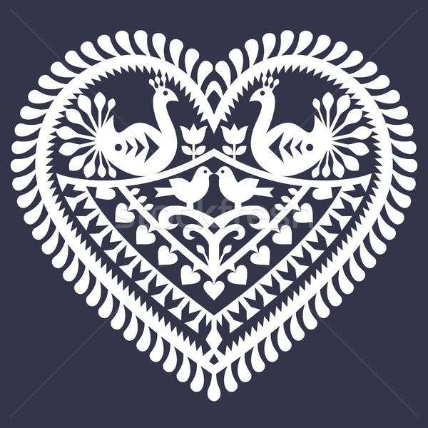Folk heart pattern for Valentine's Day - Wycinanki Kurpiowskie (Kurpie Papercuts)  Stock photo © RedKoala