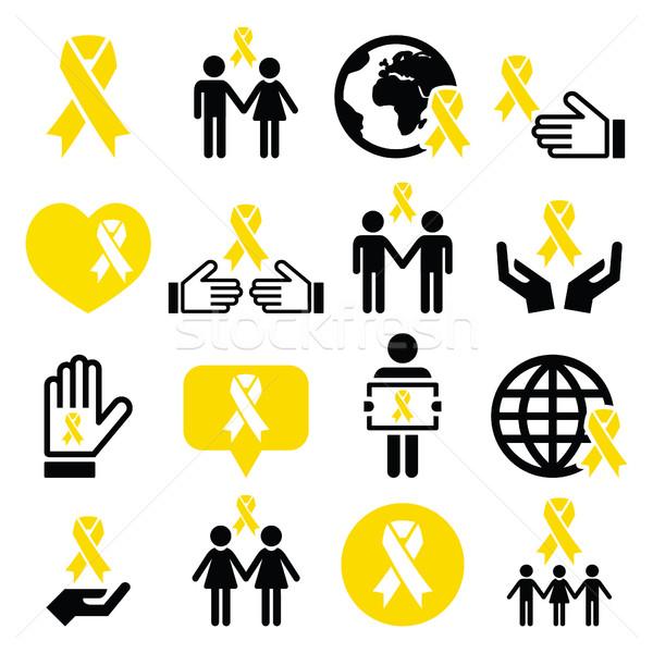 желтый лента иконки самоубийства предотвращение поддержки Сток-фото © RedKoala
