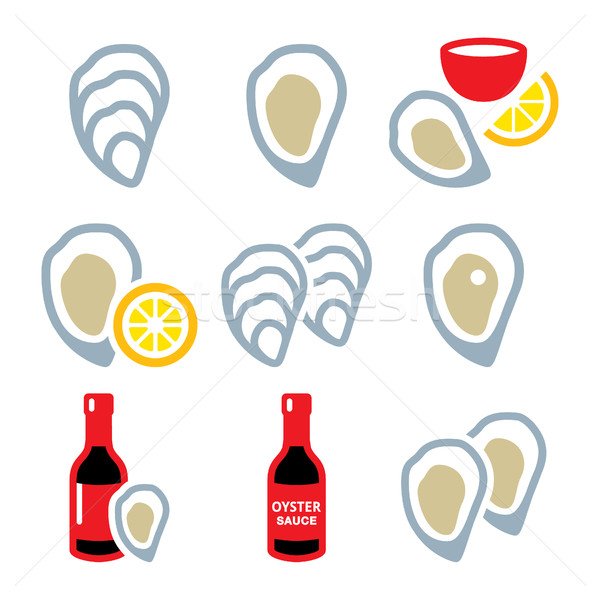 Oysters shell, sauce - sea food icons set  Stock photo © RedKoala