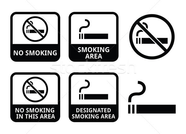 No smoking, smoking area vector icons set Stock photo © RedKoala